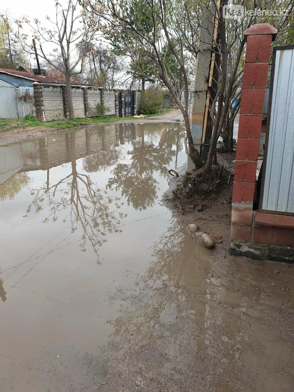 Байжарасовское озеро: после дождей на улицах Каскелена появляются новые водоемы, фото-1